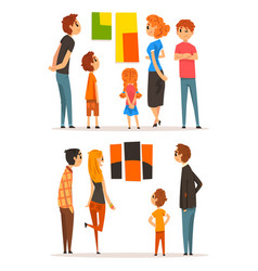 People looking at paintings hanging on the wall vector