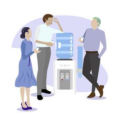 People speaking and gossip near water cooler vector