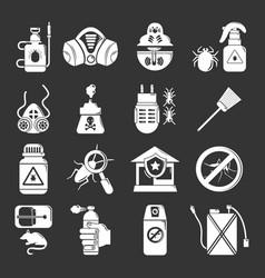 Pest control tools icons set grey vector