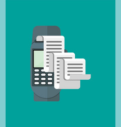 pos terminal paper receipt and keypad vector image
