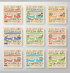 premium quality pizza labels set abstract vector image