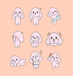 pretty pink dog character 9 different actions vector image