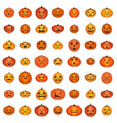 Pumpkin icons set isometric style vector