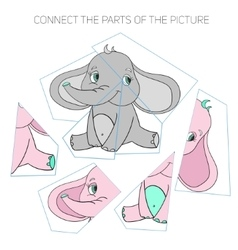 Puzzle game for chldren elephant vector image