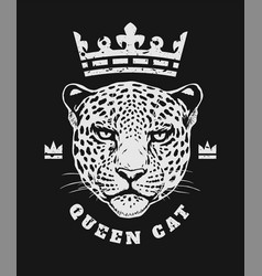 Queen cat the crown and face a leopard t-shirt vector