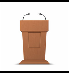 realistic debate stage 3d conference speech vector image