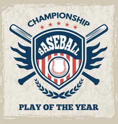 retro poster for baseball club sport emblem vector image
