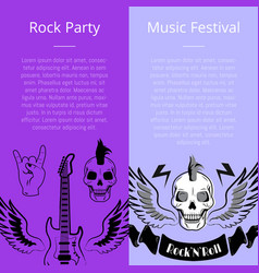Rock party music festival collection of posters vector