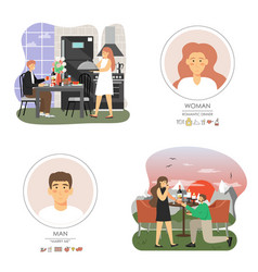 romantic date and marriage proposal scene set vector image