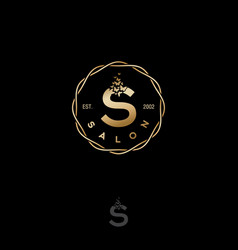 Salon logo gold s letter butterflies circle vector