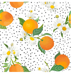 seamless orange pattern with tropic fruits leaves vector image