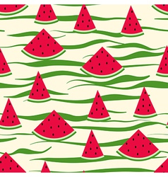 Seamless pattern of watermelon slices striped vector image