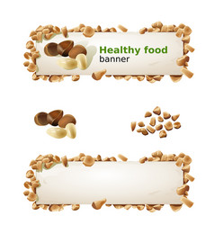 Set banners with pine nuts and ground nuts vector