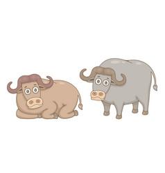 set buffalos vector image