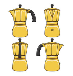 set of of golden geyser coffee maker vector image