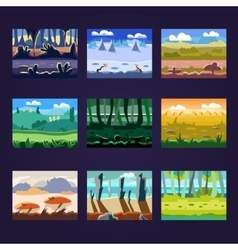 Set seamless cartoon landscapes for game design vector