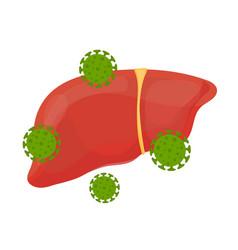 Sick unhealthy sad liver with hepatitis a vector