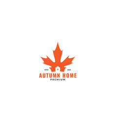 Silhouette autumn leaf with home or house or real vector