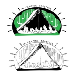 Silhouette variations of funny camping tents on vector image
