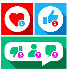 simple buttons with user feedback for social vector image