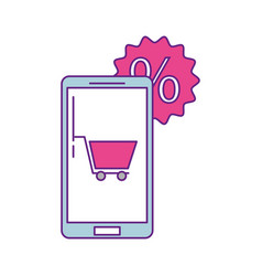 smartphone device with set icons vector image