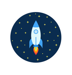 space rocket flying in cosmos and travel vector image