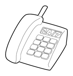 Support phone icon outline style vector