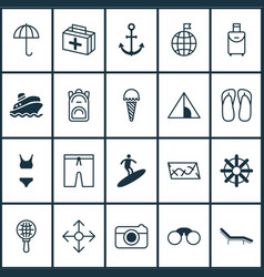 tourism icons set with parasol ice cream visited vector image