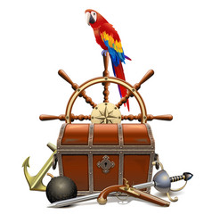 Treasure hunt concept with parrot vector
