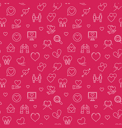 valentines day outline red seamless pattern vector image