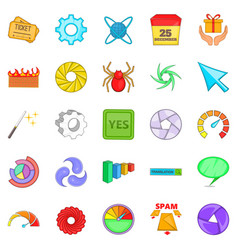 Web button icons set cartoon style vector