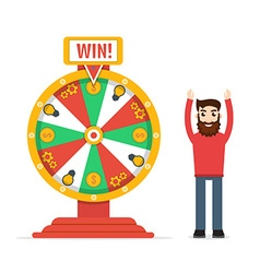 Wheel of fortune with man vector