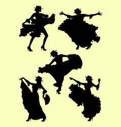 woman dancing flamenco silhouette 02 vector image
