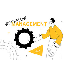 Workflow management - modern colorful line design vector