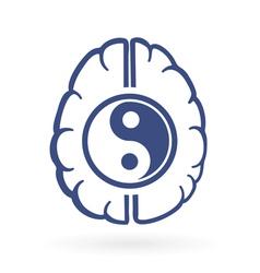 ying yang and human brain symbols vector image