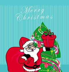 Christmas Santa Claus with christmas gift card vector image vector image