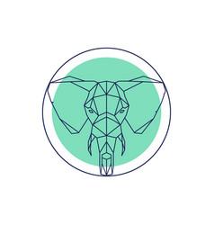 geometric animal head elephant outline vector image