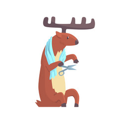 cute cartoon deer cutting his nails colorful vector image