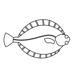 flatfish icon outline style vector image