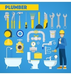 Plumber Worker with Tools Set and Bathroom vector image