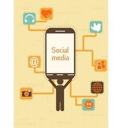 Smartphone with social icons vector