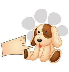 A cute dog with an empty rectangular template vector image vector image