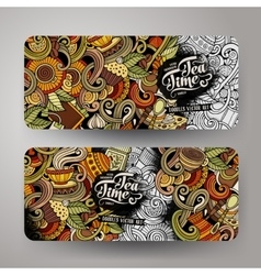 Cartoon doodles cafe banners vector image vector image