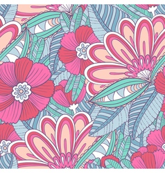 Seamless pattern with decorative flowers and leav vector