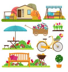 set of beautiful garden scene with flowers bike vector image