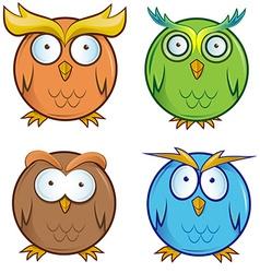 owl cartoon set vector image