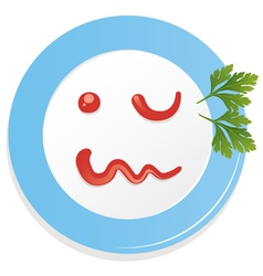 plate with ketchup vector image