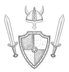 viking warrior set - shield swords and helmet vector image vector image