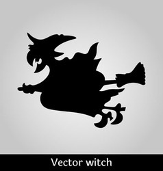 Witch flying image on grey background vector image