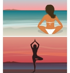 Woman is doing yoga on the sunset beach vector image